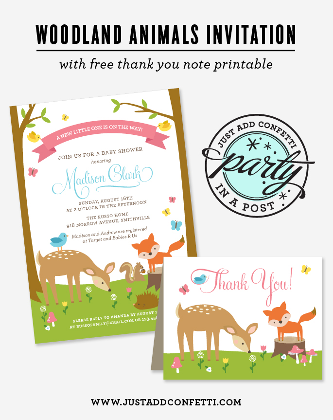 Woodland Animals Party In A Post with Free Thank You Note