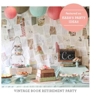 just add confetti celebrations, celebrations, vintage library party, retirement party, vintage book party, vintage book, book cake, book paper flowers