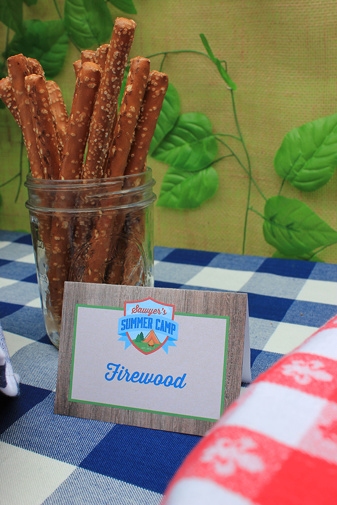 firewood pretzels, trail mix bar, Summer Camp Tablescape, camping, s'mores, kids party, lanterns, trail mix, camping party, summer camp party