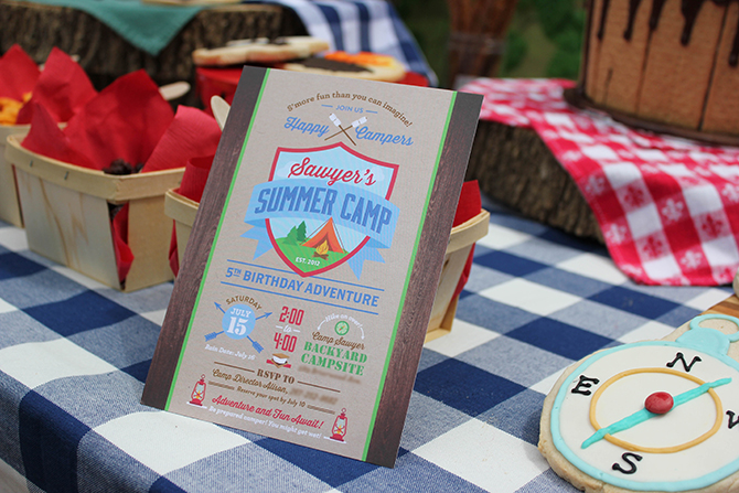 camping party invitation, birthday invitation, campfire and teepee, Summer Camp Tablescape, camping, s'mores, kids party, lanterns, trail mix, camping party, summer camp party