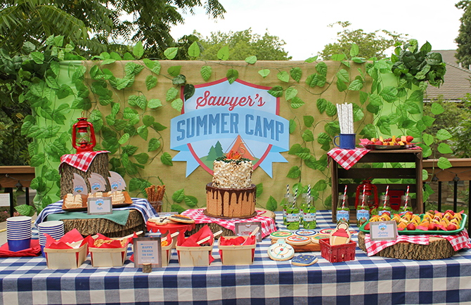 Summer Camp Tablescape, camping, s'mores, kids party, lanterns, trail mix, camping party
