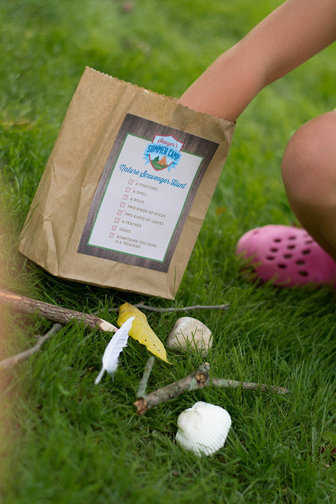 scavenger hunt, kids game, birthday activity, Summer Camp Tablescape, camping, s'mores, kids party, lanterns, trail mix, camping party, summer camp party