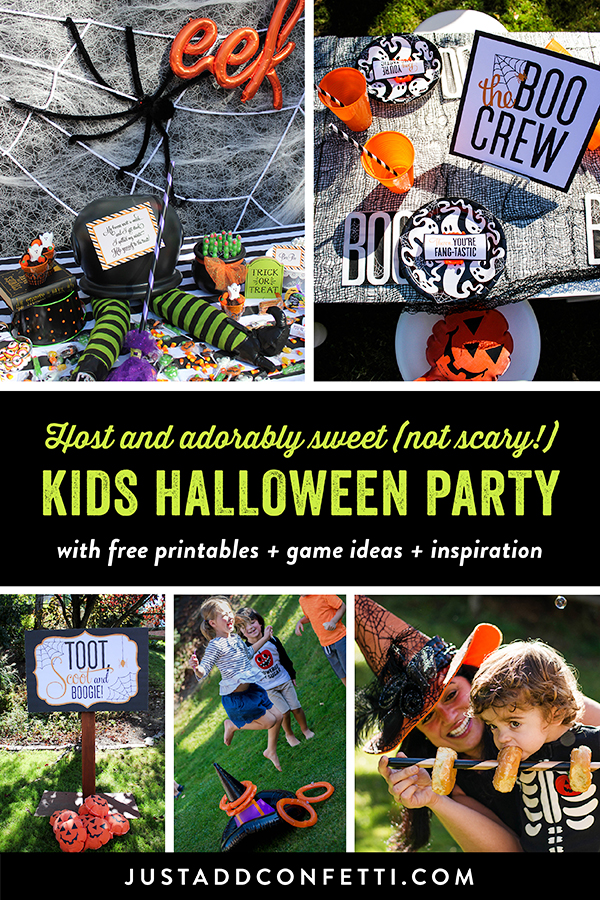 Kids Halloween Party, Sweet, Not Scary, Halloween, free printables, Just Add Confetti, toot scoot and boogie, witch hat ring toss, halloween fun,