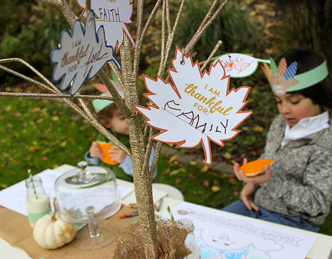 Thanksgiving Kids Table, Kids Table, Gratitude, Gratitude Tree, Gratitude leaves, Thanksgiving, Free Printables, Thanksgiving Free Printables, Creative Kids Table Ideas, Turkey coloring placemat, turkey place cards, turkey headbands, turkey hats, turkey bottle labels, just add confetti, turkey free printables, graphic design, gratitude tree, thankfulness tree, I am thankful for, free printable leaves, DIY thanksgiving tree, pittsburgh blogger