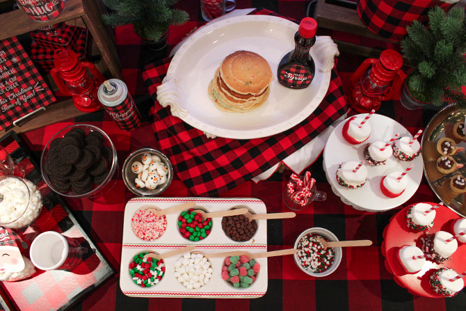 Pancakes, Pajamas and Plaid, Pancakes, Pajamas, Kids Christmas Party, Plaid, Buffalo Plaid, Christmas, Christmas Party, Oriental Trading, Believe in the Beard, Hot Cocoa Bar, Hot Chocolate Bar, free printables, decorate your own pancakes, DIY hot chocolate bar, just add confetti, pittsburgh blogger