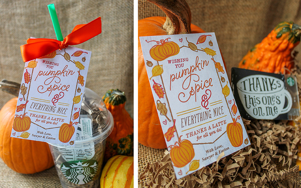 Pumpkin Spice and Everything Nice, Thanks A Latte, Thanks a Latte for all you do, pumpkin spice, free printable, gift tag, spread kindness, thankgiving, thankful, Just Add Confetti, Just Add Confetti printables,