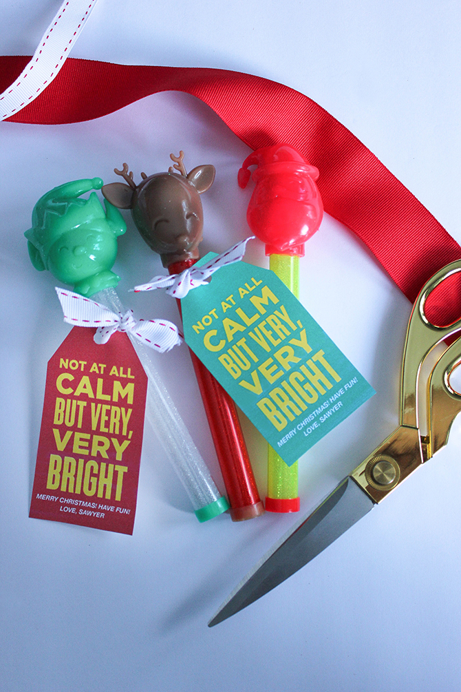 kids Christmas gift idea, kids christmas party favor, free printable, free printable gift tags, printable gift tags, free, printable, not at all calm but very very bright, just add confetti, just add confetti printables, blinking light up wand, light up baton, light up wand, bouncing baton, easy gift idea, last minute gift idea, inexpensive gift idea, pittsburgh blogger, party blogger, graphic design, not at all calm, very very bright, kids christmas, gift idea,