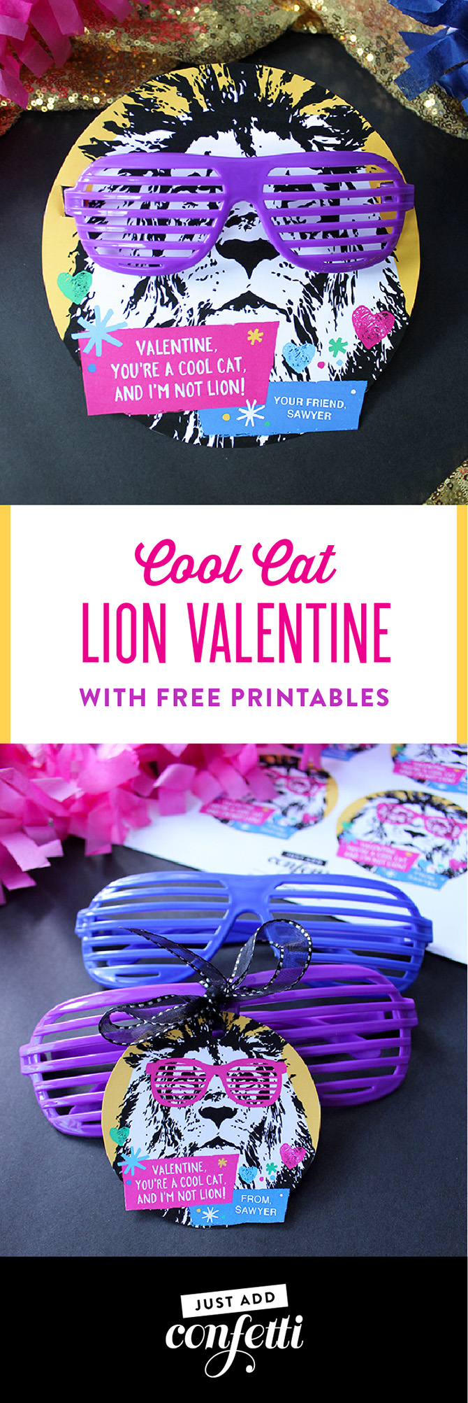 Cool Cat Lion Valentine Printable, Cool Cat Lion Valentine, lion valentine, valentine free printable, free printable, kids valentine, classroom valentine, non-candy valentine, glasses valentine, party animal, party animal valentine, Just Add Confetti, Just Add Confetti printable,