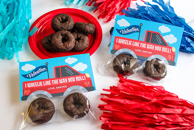 monster truck donut valentine, truck valentine, kids classroom valentine, kids valentines, donut tire valentine, truck with donut tires, I wheelie like the way you roll, diy kids valentine, just add confetti, free printable, just add confetti printables, free valentine, free valentine printable, creative valentine