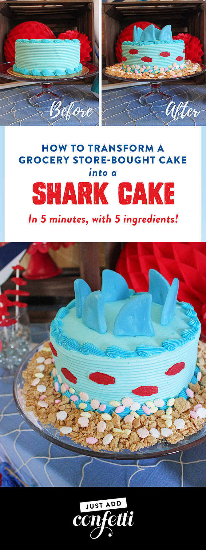 You Are Jaw-some Valentine's Day Party, Jaw-some, Valentines party, kids valentine's day party, kids valentines party, shark party, valentine's day, oriental trading, partnership, fin-tastic, free printables, party ideas, party inspiration, valentine's day shark party, valentines shark party, Just Add Confetti, shark cake tutorial, how to transform a store-bought cake into a shark cake