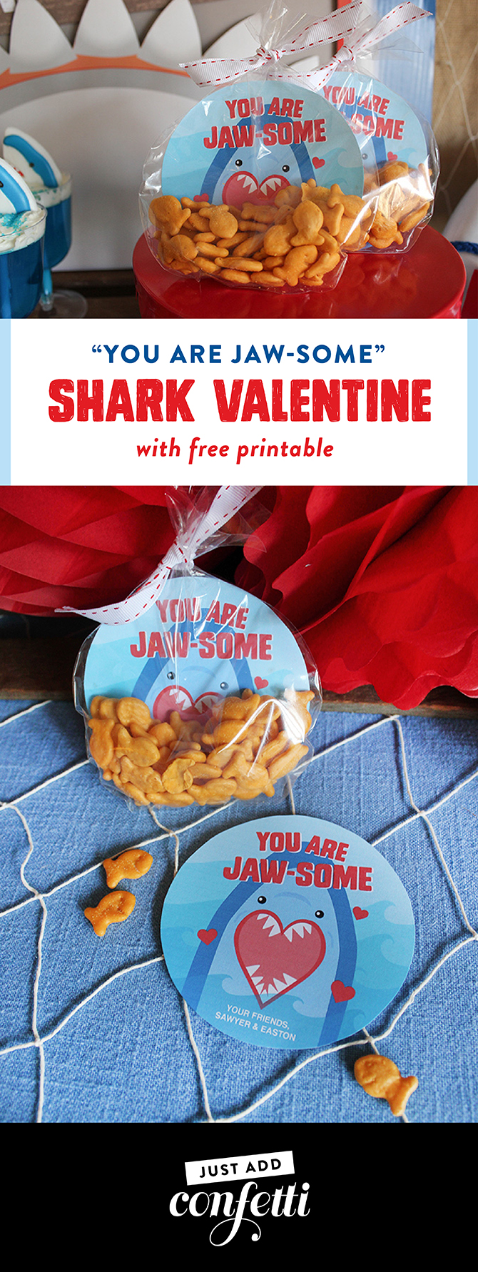 shark valentine printable, Jaw-some, Valentines party, kids valentine's day party, kids valentines party, shark party, valentine's day, fin-tastic, free printables, party ideas, party inspiration, valentine's day shark party, valentines shark party, Just Add Confetti, shark valentine, shark valentine free printable, free valentine printable, non-candy valentine, free printable, you care jawsome valentine printable