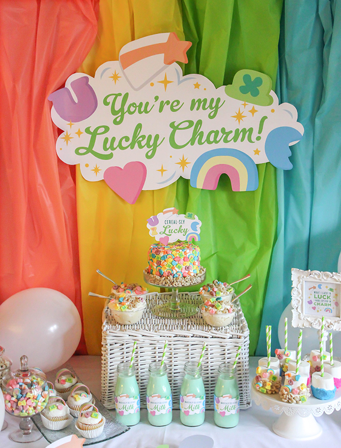 """You're my Lucky Charm"" St. Patrick's Day party, You're my Lucky Charm, St. Patrick's Day party, lucky charm, cereal party, cereal-sly lucky, kids party, kid's St. Patrick's Day party, free printables, pastel rainbow, rainbow cupcakes, Lucky Charms cake, Just Add Confetti, Just Add Confetti printables, Lucky Charms, Lucky Charms cereal, inexpensive parties, easy parties, party on a budget, budget-friendly parties, lucky, what I lack in luck I make up for in charm, charm, leprechaun, party blogger, Pittsburgh party blogger, creative food"