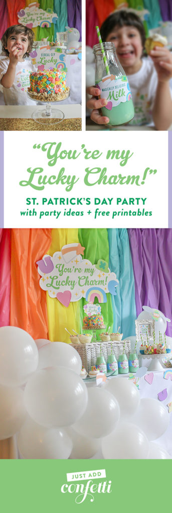 You're my Lucky Charm St. Patrick's Day party, You're my Lucky Charm, St. Patrick's Day party, lucky charm, cereal party, cereal-sly lucky, kids party, kid's St. Patrick's Day party, free printables, pastel rainbow, rainbow cupcakes, Lucky Charms cake, Just Add Confetti, Just Add Confetti printables, Lucky Charms, Lucky Charms cereal, inexpensive parties, easy parties, party on a budget, budget-friendly parties, lucky, what I lack in luck I make up for in charm, charm, leprechaun, party blogger, Pittsburgh party blogger, creative food