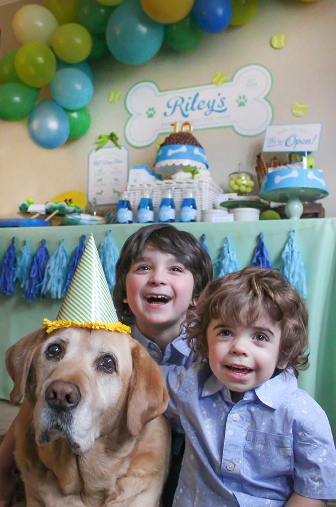 Riley's Barkery and Hot Dog Shop, dog party, puppy party, barkery, hot dog party, dog birthday party, DIY hot dog bar, puppy chow chocolate malt ball birthday cake, Just Add Confetti,
