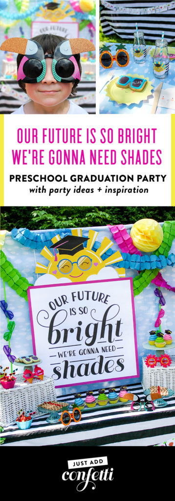 Our Future Is So Bright We're Gonna Need Shades, Our Future Is So Bright We're Gonna Need Shades, Our Future Is So Bright We're Gonna Need Shades preschool graduation party, future so bright, gonna need shades, Just Add Confetti, preschool graduation party, shades, sunglasses, kindergarten graduation party, middle school graduation party, graduation party, preschool graduation, pre-K graduation, sunshine, sun wearing sunglasses crazy sunglasses, party planner, party blogger, kid's graduation party, creative kid's party, sunglass cookies, class rings ring pops, diploma cookies, sun plates, sunshine, cloud napkins, cookie place cards, Just Add Confetti printables