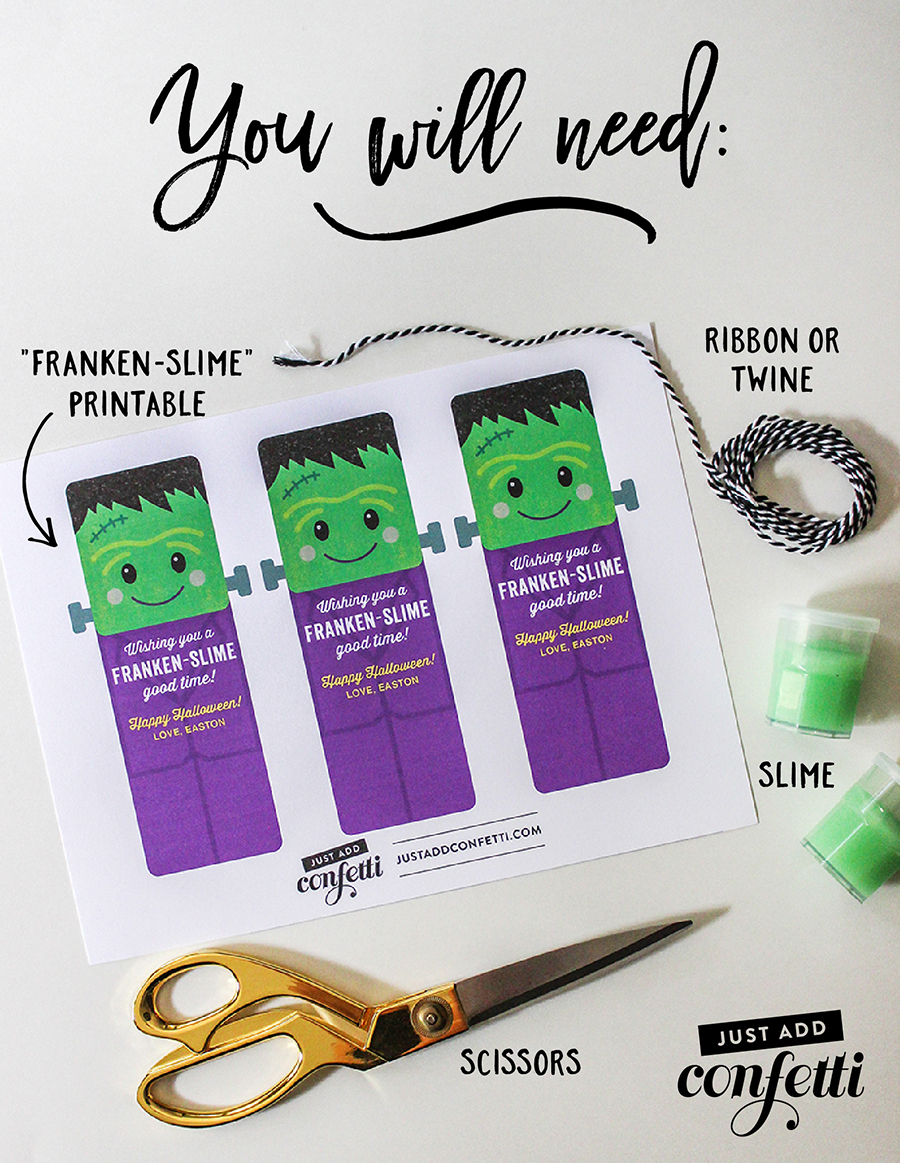 Non-candy Halloween treat, free printable, Franken-slime, Halloween slime, frankenstein slime, classroom halloween treat, kids halloween, halloween treat, Just Add Confetti, classroom treat, school treat, Halloween classroom party favor, Halloween party favor,