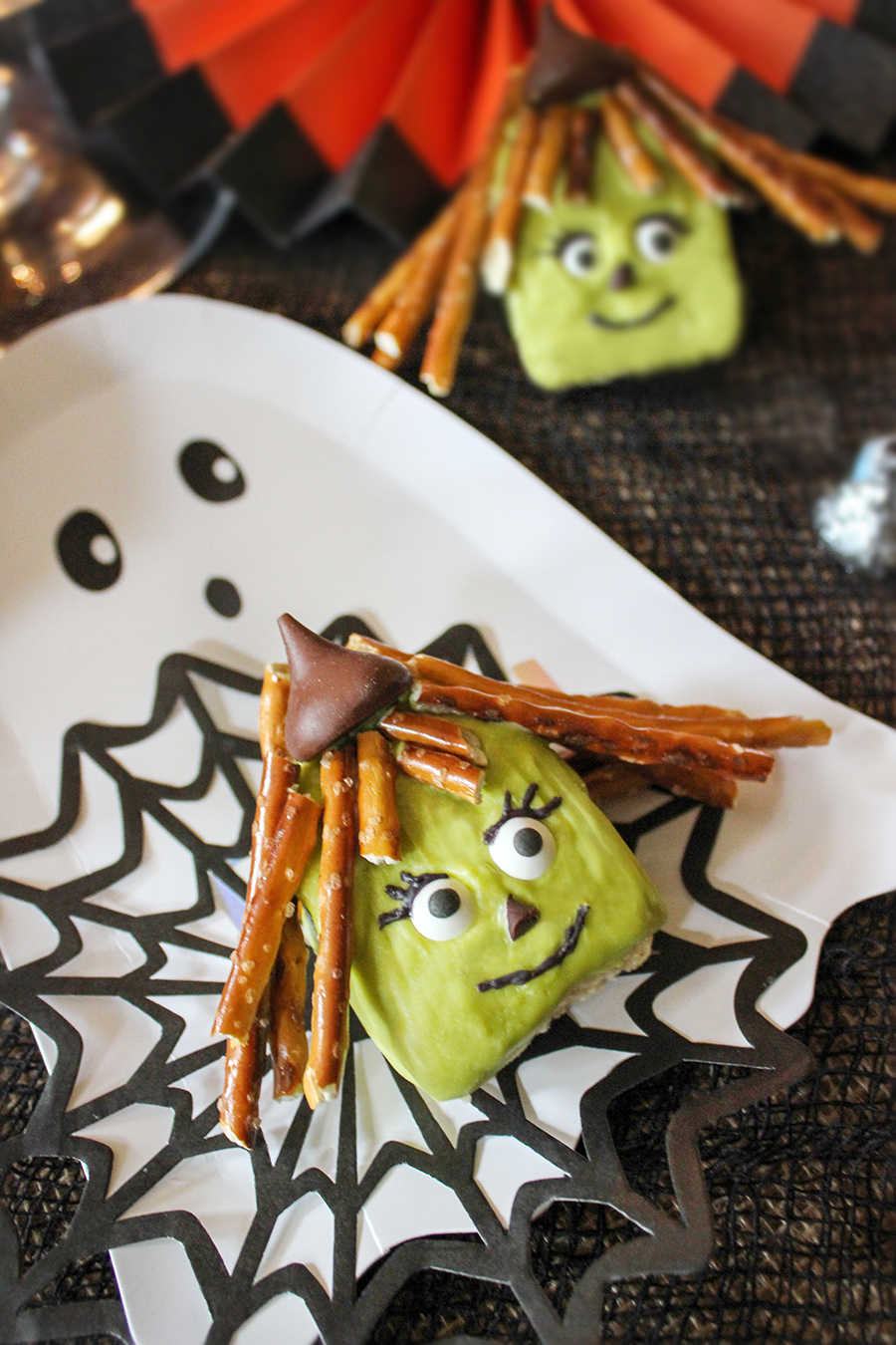 rice krispie witch halloween treat - just add confetti