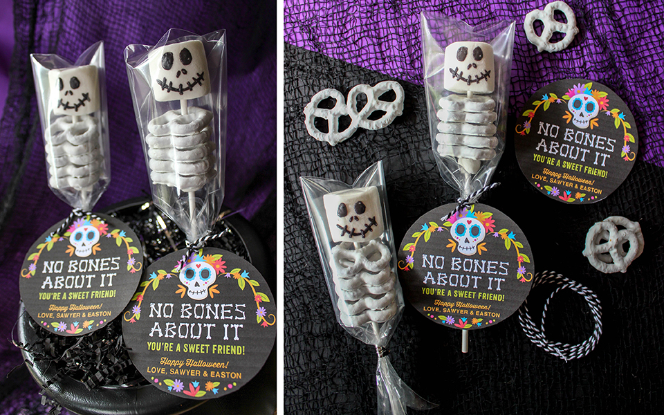 No Bones About It, Halloween treat, marshmallow and pretzel skeletons