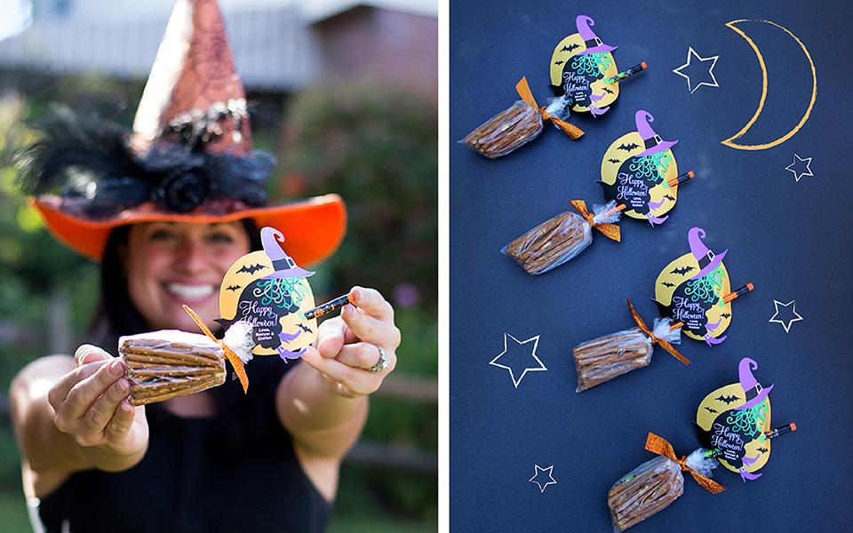 Halloween Witch Broomstick Pretzels