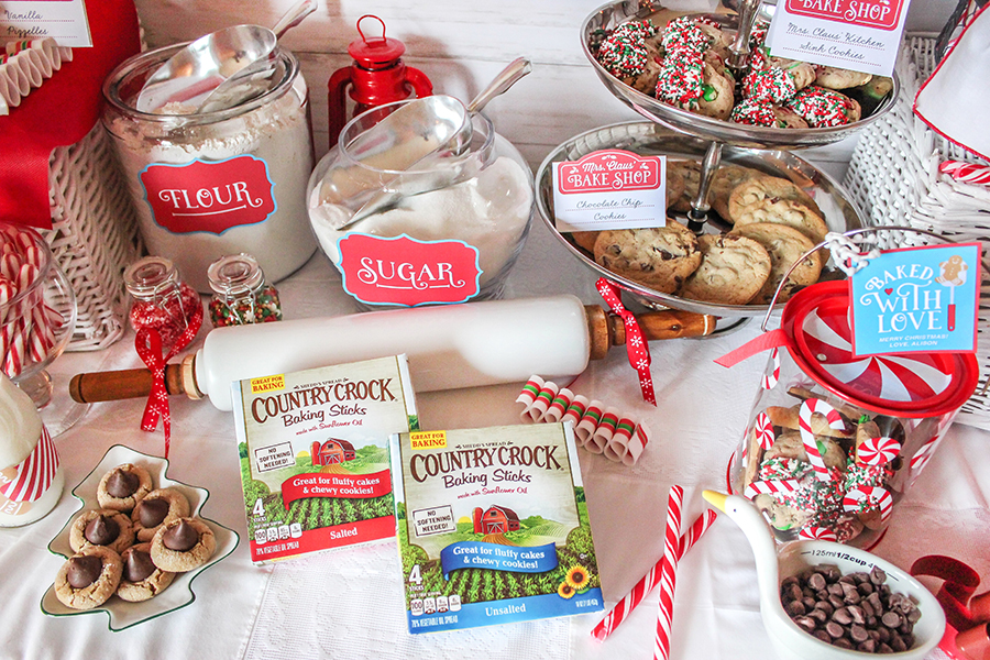 Mrs. Claus' Bake Shop Cookie Exchange Party, Cookie Exchange Party, Mrs. Claus, Mrs. Claus' Bake Shop, North Pole, bake shop, Christmas, Christmas cookies, cookie party, cookies, Just Add Confetti, free printables, Just Add Confetti printables, cookie exchange, Country Crock, partnership, Pittsburgh blogger, party blogger, Mrs. Claus' Kitchen Sink Cookies, Kitchen Sink Cookies, baked with love, baking spirits bright, cookies baked fresh daily, gingerbread house, milk and cookies served nightly, bake shop cookie exchange, Christmas party, Holiday party