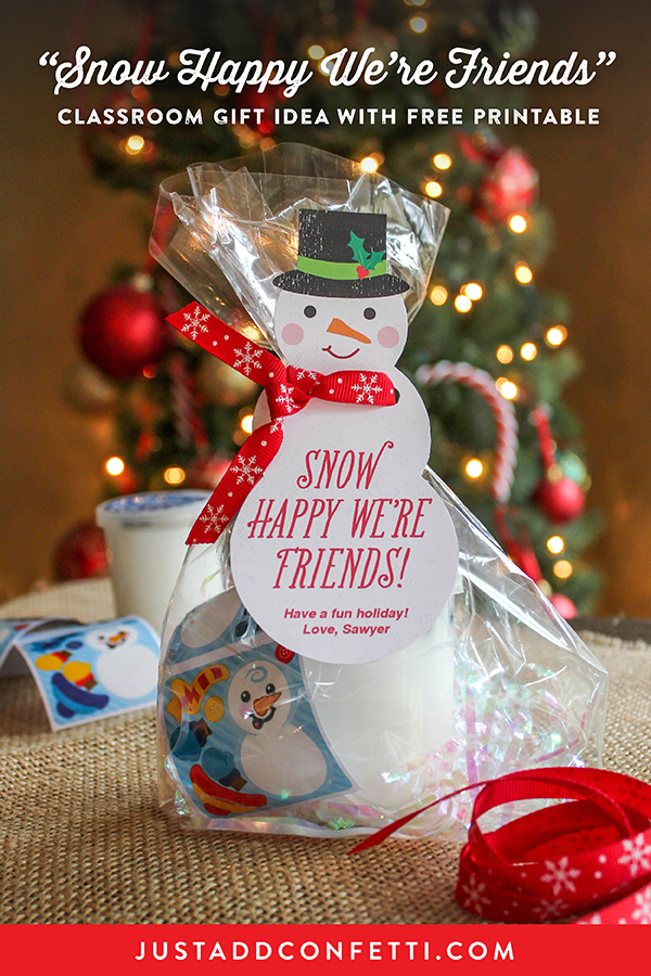 """Snow Happy We're Friends"" classroom gift idea, Christmas gift, gift ideas, snowman gift tag, snowman with ribbon scarf, ribbon scarf, snowman, gift tag, snow happy, snow happy we're friends, kids Christmas gift, classroom holiday gift, Just Add Confetti, free printable, snowman slime, dress-a-snowman stickers, snow,"