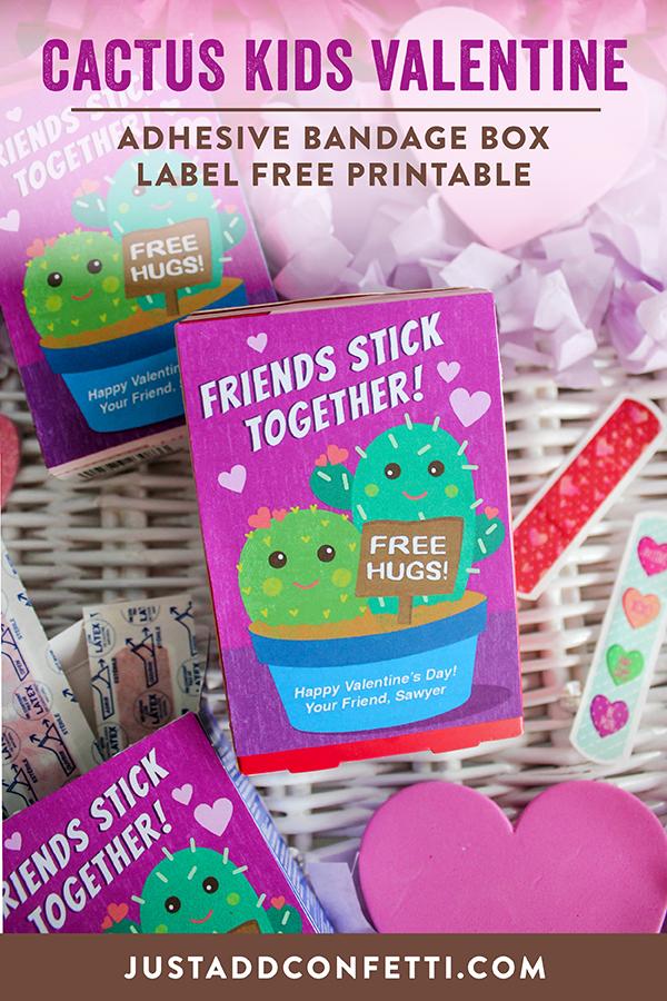 """Free Hugs"" Cactus Kids Valentine with Adhesive Bandage Box Label Free Printable, cactus valentine, kids valentine, free hugs, friends stick together, cactus, box label, free printable, Just Add Confetti, adhesive bandage valentine"