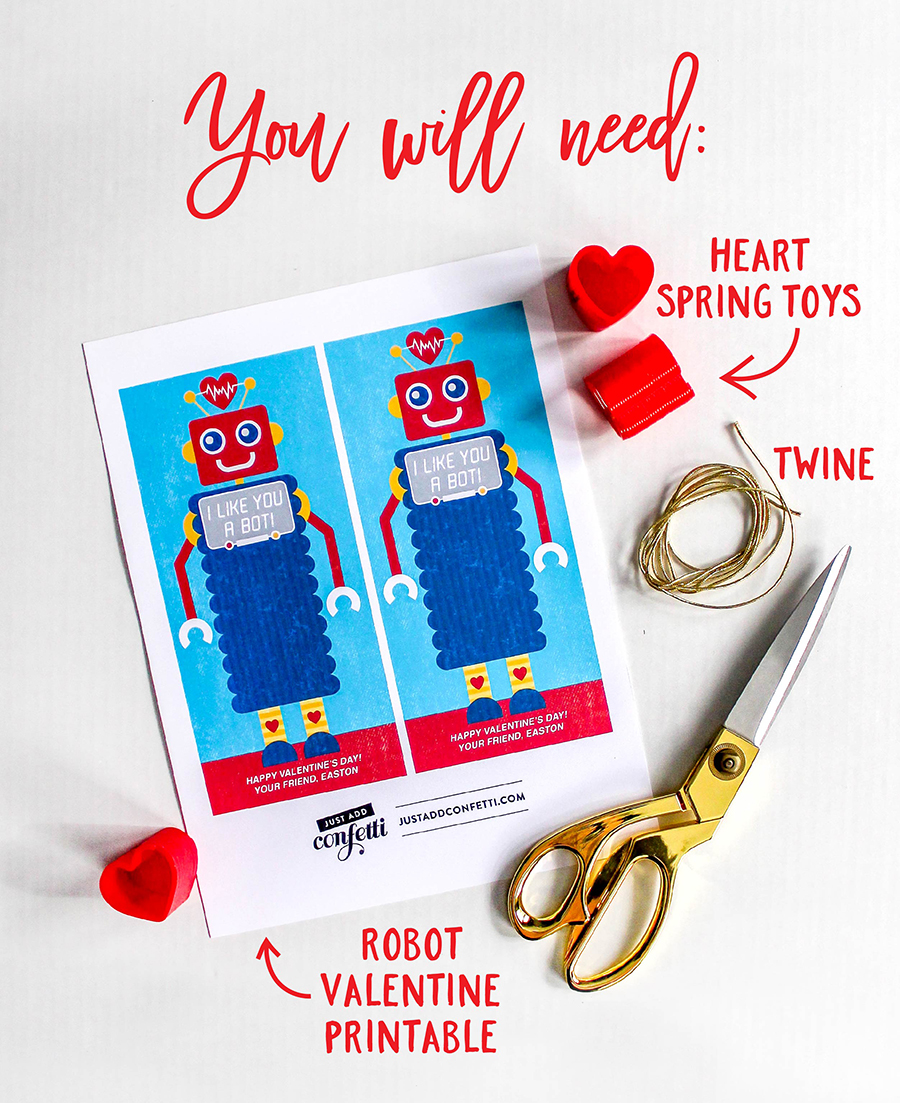 Robot Kids Valentine, Robot Kids Valentine with spring toy, slinky valentine, robot with slinky valentine, I like you a bot, robot, kids valentine, valentine, free printable, Just Add Confetti, slinky, spring toy, Dollar Tree